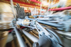 Various mechanisms and gray metal pipe. Industrial Warehouse. Various mechanisms and gray metal pipe. Motion blur effect Stock Photo
