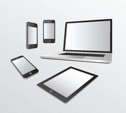Various media devices on grey Stock Photography