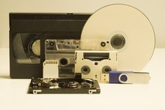 Various media types. compact disc. memory card. video and audio cassette. usb flash drive. media types evolution royalty free stock photos