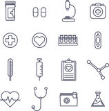 Various medical equipment vector icons. On white background Royalty Free Stock Photos