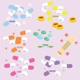 The various medicine drug of hope stock illustration