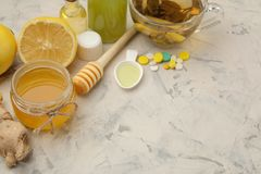 Various medicines for flu and cold remedies on a white wooden table .. Cold. diseases. cold. flu royalty free stock photo