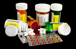 Various Medicines and Narcotics. Bottles and tablets Stock Images