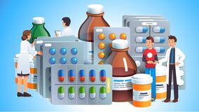 Free Various Meds. Pills, Bottles With Liquid Medicine Royalty Free Stock Image - 192398316