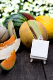 Various melons with empty sign Royalty Free Stock Photo