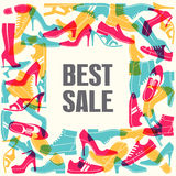 Various men`s and women`s shoes in the form of frames. Shoes sale, shopping. Vector illustration Stock Photography