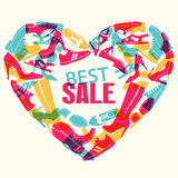 Various men`s and women`s shoes in the shape of a heart. Shoes sale, shopping. Vector illustration Stock Image