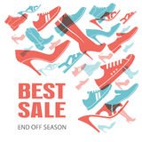 Various men`s and women`s shoes. Shoes sale, shopping. Vector illustration Stock Images