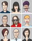 Various men and women faces collection Royalty Free Stock Photo