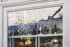 Various menorahs in Jerusalem stock photos