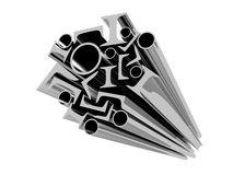 Various metal profiles on a white background isola. Ted 3d royalty free illustration