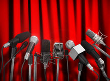 Various microphones. Aligned at press conference Royalty Free Stock Photography