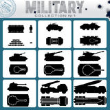 Various Military Vehicles. Vector Icons Royalty Free Stock Images