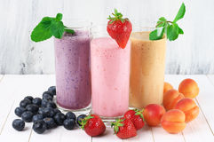 Various milkshakes with fruits Stock Photo
