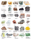 Various mineral stones minerals with names Royalty Free Stock Image