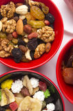 Various mix dried fruits and nuts royalty free stock photos
