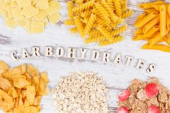Various mix pasta and healthy products as source carbohydrates and fiber royalty free stock photo