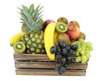 Vintage wooden crate full of colorful fresh fruits Stock Images