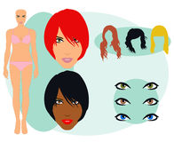Various Model Hair and Features Stock Photography