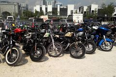 Various model of Harley Davidson easy rider motorcycle parking in the open area. KUALA LUMPUR, MALAYSIA -DECEMBER 16, 2017: Various model of Harley Davidson easy stock photos
