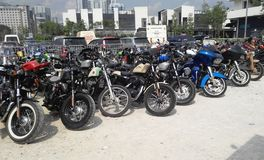 Various model of Harley Davidson easy rider motorcycle parking in the open area. KUALA LUMPUR, MALAYSIA -DECEMBER 16, 2017: Various model of Harley Davidson easy royalty free stock photo