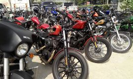 Various model of Harley Davidson easy rider motorcycle parking in the open area. KUALA LUMPUR, MALAYSIA -DECEMBER 16, 2017: Various model of Harley Davidson easy royalty free stock photography