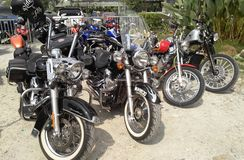 Various model of Harley Davidson easy rider motorcycle parking in the open area. KUALA LUMPUR, MALAYSIA -DECEMBER 16, 2017: Various model of Harley Davidson easy stock photography