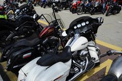 Various model of Harley Davidson easy rider motorcycle parking in the open area. KUALA LUMPUR, MALAYSIA -DECEMBER 16, 2017: Various model of Harley Davidson easy stock image