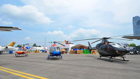 Various models of Airbus (previously Eurocopter) helicopters on display at Singapore Airshow Royalty Free Stock Photos