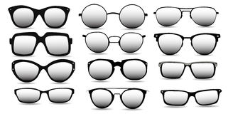 Various models of black-rimmed glasses, vector Stock Photography