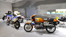 Various models of BMW motorbikes on display in BMW Museum Stock Photos