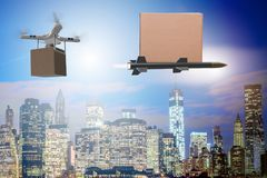 The various modern delivery methods with rockets and drone Stock Photo