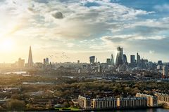The various modern skyscrapers and buildings in London, UK royalty free stock photo