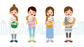 Various Mom and Baby- Townscape Background Stock Photography