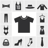 Various Monochrome Clothing Themed Graphics Royalty Free Stock Photography