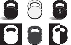 Monochrome kettlebells. Various monochrome kettlebells, including  on white background Royalty Free Stock Photography