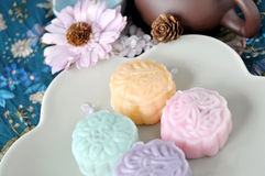 Various Mooncake on Dish. Various flavor snow skin mooncake on dish Royalty Free Stock Photos