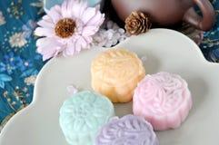 Various Mooncake on Dish Royalty Free Stock Photos