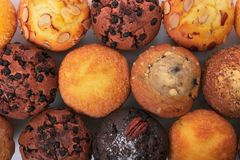 Various muffin cakes in a row top view. Various muffin cakes top view Royalty Free Stock Image