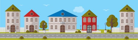 Various Multi-Colored Buildings. Vector illustration Stock Photography