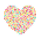 Various multicolored dots heart. Magenta, Cyan, Stock Images