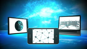 Various multimedia devices. Displaying business community imagery stock video