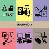 Various multimedia icons and symbols set Royalty Free Stock Photography