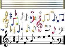 Various music notes set. All kinds of music notes in blue, red, gold, metal color Stock Photography