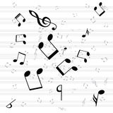 Various music notes on stave Royalty Free Stock Images