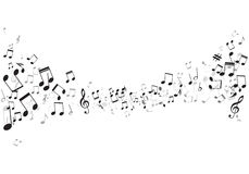 Various music notes on stave,  Royalty Free Stock Images