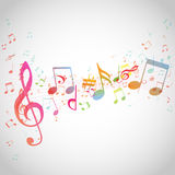 Various music notes on stave,  Stock Photography