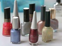 Various nail polishes. Close up of various nail polishes Stock Image