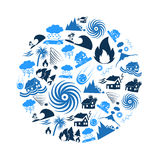 Various natural disasters problems in the world blue icons in circle eps10. Various natural disasters problems in the world blue icons in circle Royalty Free Stock Photos