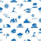 Various natural disasters problems in the world blue icons seamless pattern eps10 Royalty Free Stock Images